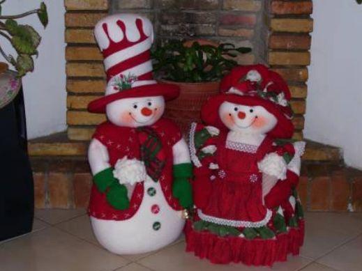 Patrones para hacer pareja de mu ecos de nieve diy - Munecos de navidad ...