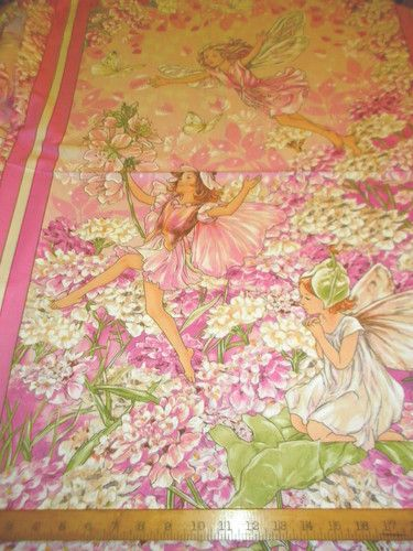 Michael Miller Fabric Cicely Mary Barker Pink Petal Fairies Panel 3 Fairy, Just $8.50 Per Panel!