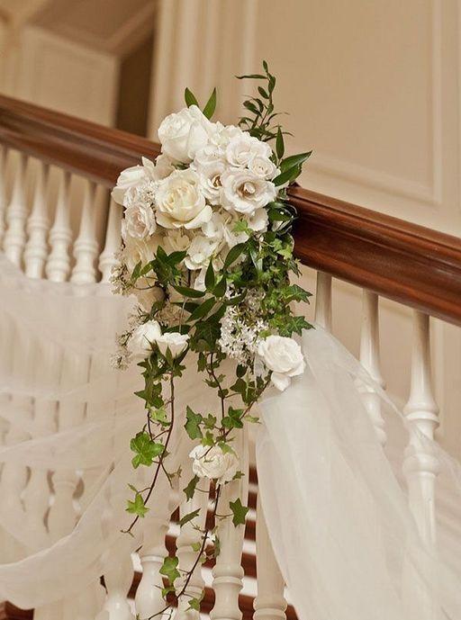 30 Romantic Wedding Staircase Decor Ideas With Flower Wedding Staircase Home Wedding Decorations Wedding Staircase Decoration