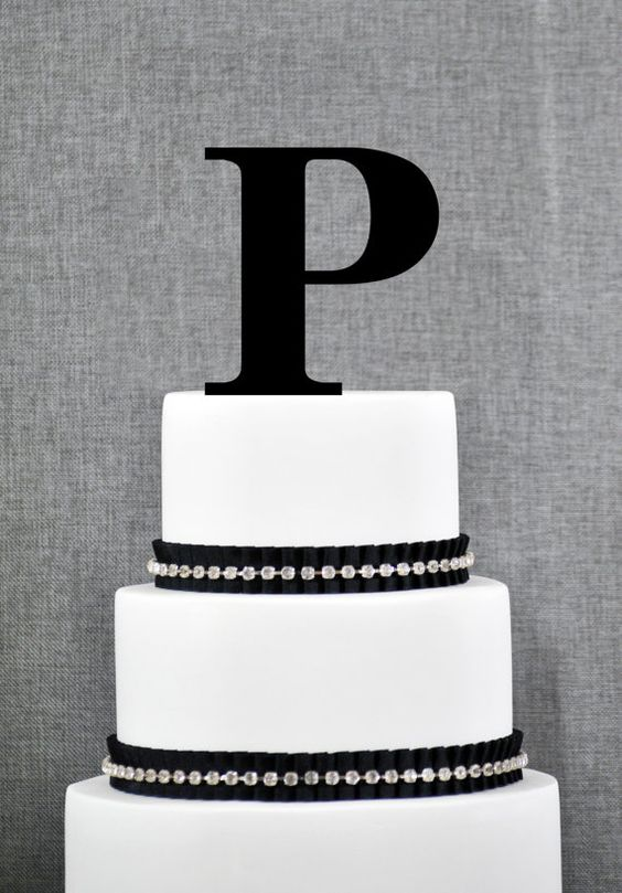 Cake Toppers Letter P : Personalized Monogram Initial Wedding Cake Toppers -Letter ...