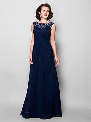 A-line Plus Sizes / Petite Mother of the Bride Dress - Dark Navy Floor-length Sleeveless Chiffon