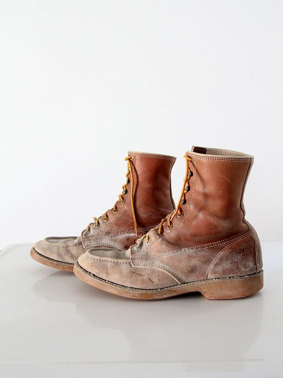 Vintage work boots - mens leather lace ups - work n sport | Men's ...