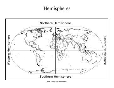 Printables Hemisphere Worksheet the northern eastern southern and western hemispheres are indicated on this printable world