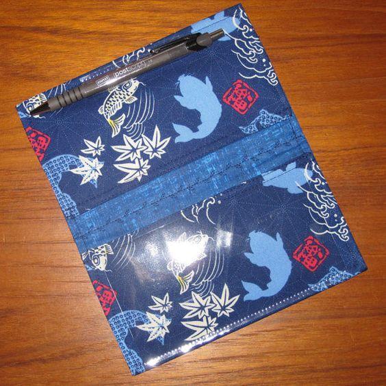 Chéquier couverture tissu asiatique japonais Koi et Hanko Design