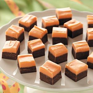 Orange Layered Fudge Recipe {easily change flavors depending on extract/color you use} - Taste of Home