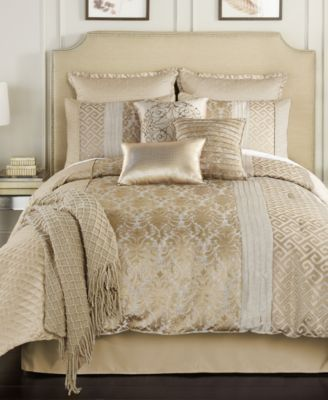 Alanis 10 Pc Comforter Sets 300 00 Make Any Room Look Like A Million Bucks With The Gleaming Gold Tone Comforter Sets King Comforter Sets Full Comforter Sets