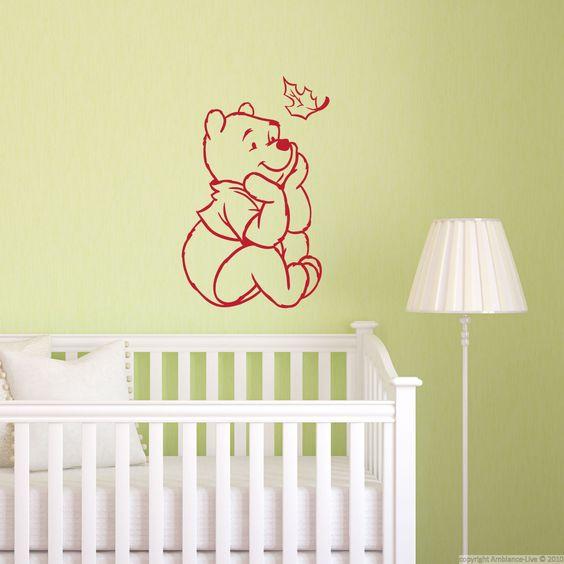 Sticker Silhouette Pooh avec feuille volante - Stickers Animaux Animaux de la ferme - ambiance-sticker
