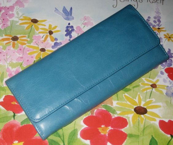 Hobo International SADIE tri-fold continental LEATHER  Wallet - TURQUOISE…
