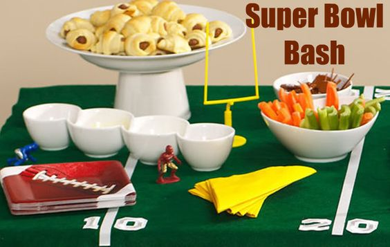 Love the table cloth idea for a Super Bowl party