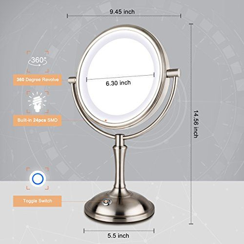 Amnoamno Led Makeup Mirror 10x Magnifying 7 8 Double Sided Lighted Vanity Makeup Mirror With Stand Touch Button Adjustable Light Usb Ac Adapter Or Battery Ope Makeup Vanity Led Makeup Mirror Makeup Mirror
