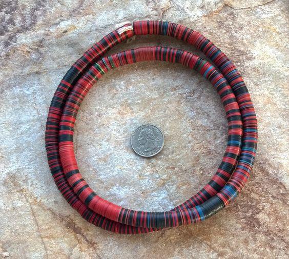 Vintage Mixed Red Black Blue African Vinyl Disc Beads African Vinyl 10 Mm Vulcanite Beads 32 82 Cm Record Disc Beads M African Vinyl Black And Red African