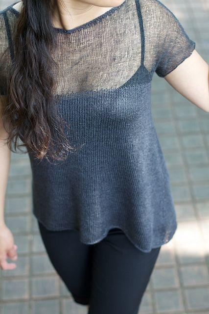 Ashen Pullover. Knitwear design by me using Habu Textiles yarns. #steel #wool #ramie #bamboo #archedhem #sheer