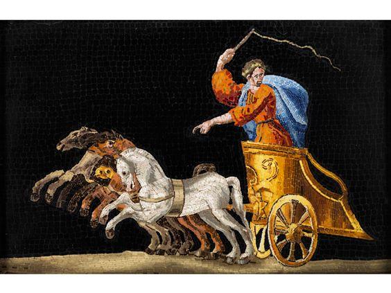 9,6 x 14 cm. Italien, frühes 19. Jahrhundert. Das äußerst feine Mikromosaik zeigt vor schwarzem Fond einen vierspännigen Streitwagen mit Peitsche...