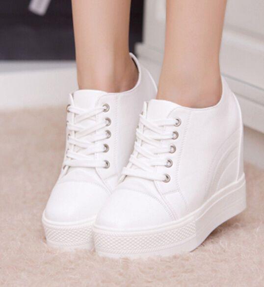 Womens Fashion Ankle Boots Lace Up Hidden Wedge Heels Sports School Sneaker Shoe