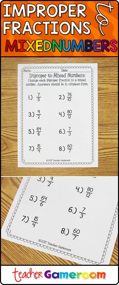 Students Practice Changing Improper Fractions To Mixed Numbers There Are 8 Questions In All And The Answ Improper Fractions Elementary Resources Mixed Numbers