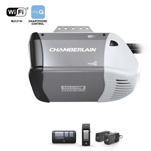 Chamberlain 0 5 Hp Myq Smart Chain Drive Garage Door Opener With Myq And Wi Fi Compatibility Lowes Com In 2020 Garage Door Opener Garage Doors Garage Opener