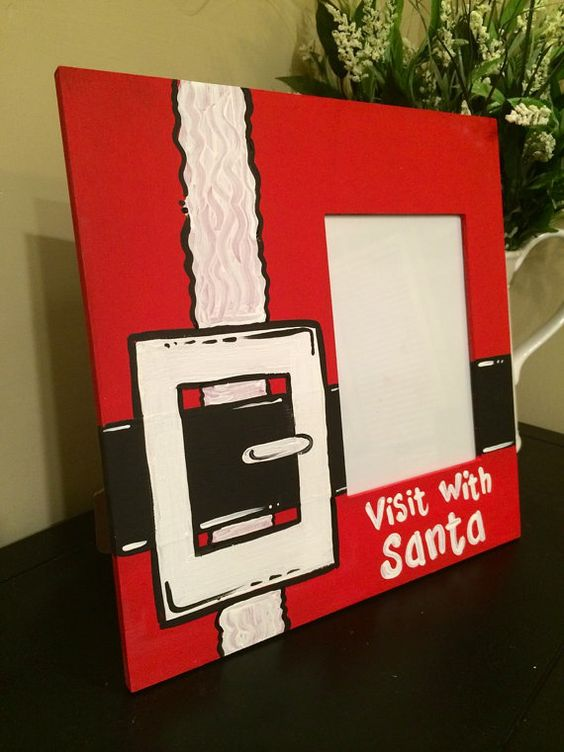 Santa picture Frame - 12x12 frame with a 5x7 opening - visit with ...