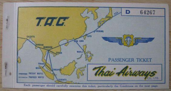 Thai Airways Passenger Ticket T.A.C. 1957 Bangkok to StemReap to Bangkok