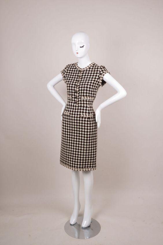 Oscar de la Renta Brown/Cream Checkered Tweed Cap Sleeve Sheath Dress SZ 6 #OscardelaRenta #Sheath