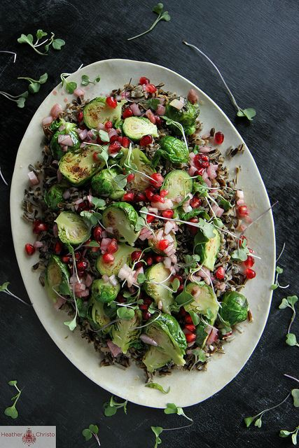 Wild Rice Salad with Brussels Sprouts and Pomegranate Vinaigrette by Heather Christo, via Flickr
