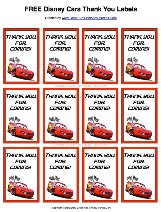 Free Disney Cars Thank You Labels Print Them On Sticker