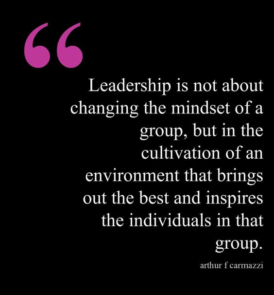 Leadership is not about changing the mindset of a group, but in the cultivation of an environment that brings out the best and inspires the individuals in that group.  - Arthur F Carmazzi