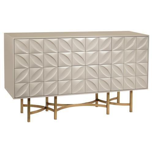 John Richard Modern Classic Ghost White Petal Bronze Metal Base Credenza White Credenza Furniture Home Furnishings