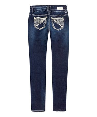 Loving this Dark Blue Ruby Short Mid-Rise Skinny Jeans on #zulily! #zulilyfinds