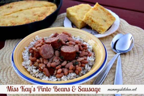 Mommy's Kitchen - Old Fashioned & Southern Style Cooking: Miss Kay's Pinto Beans & Sausage + {Mom's Mexican Cornbread}