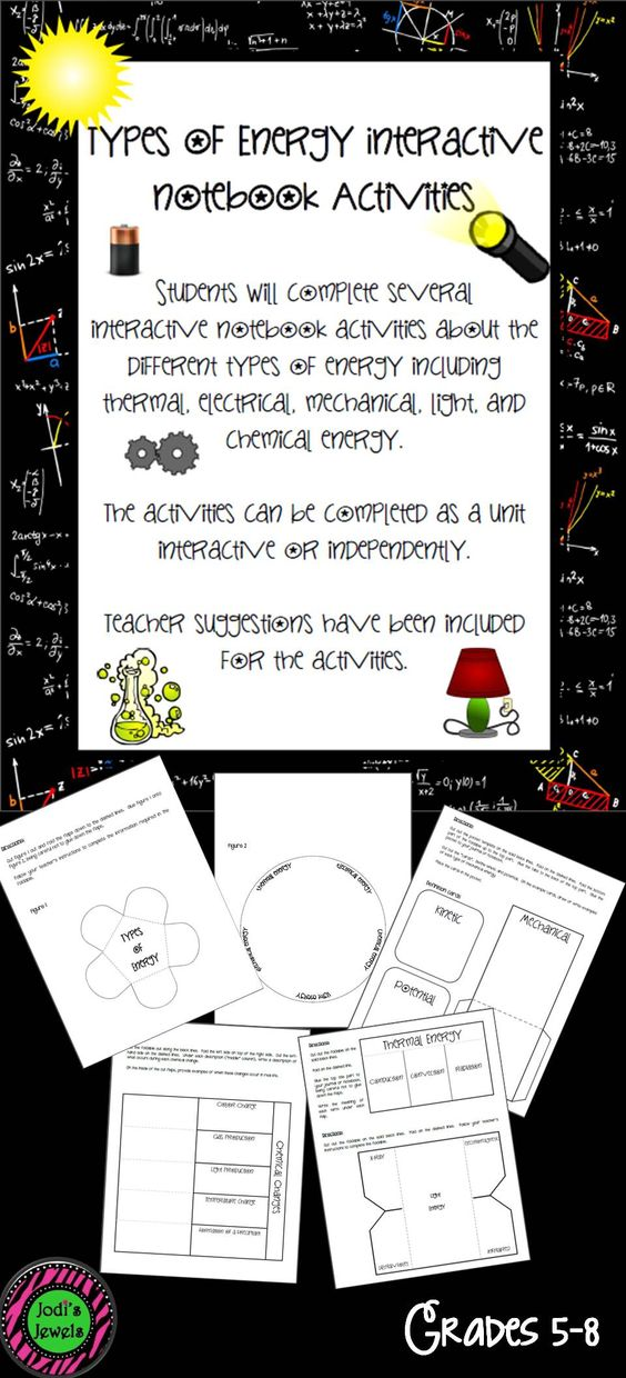 Students will complete several interactive notebook activities about the different types of energy including thermal, electrical, mechanical,light, and chemical energy.  The activities can be completed as a unit interactive or independently.  Teacher suggestions have been included for the activities.