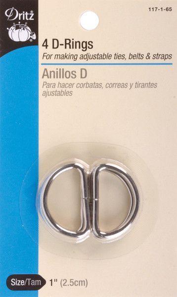 """metal """"d"""" rings 1"""" 4/pkg-nickel"""