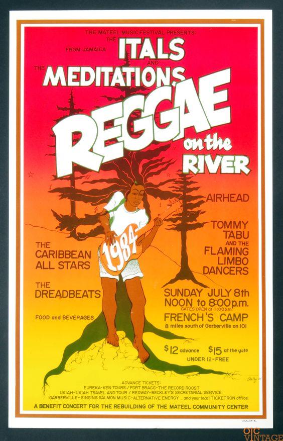 "Reggae On The River 1984 First Festival Original Vintage Rare Poster 14.5"" x…"