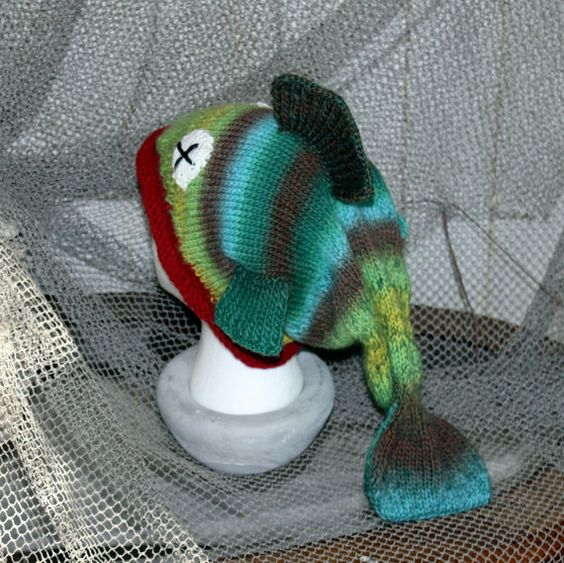 Knitting Patterns Hats Animals : Adult Fish Hat Novelty Knit Slouch Animal Hat in by GrahamCrafter, USD40.00 B...
