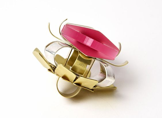 Solène Dejean  Ring: PIECES SERIE n°2, 2016  Brass, silver, plexiglass  5 x 8 x 5 cm: