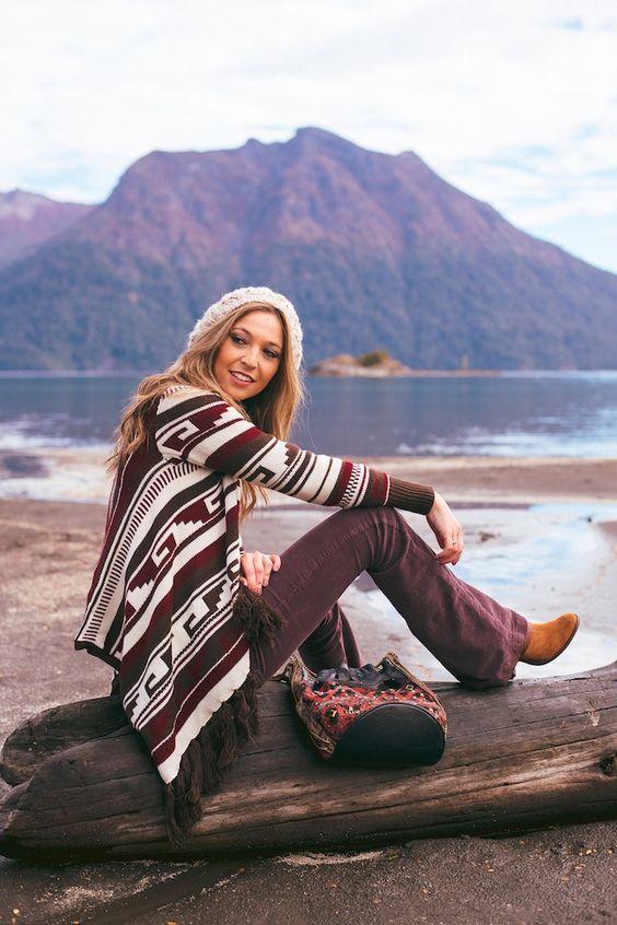 fashion women woman winter tribal boho fall bariloche look outfit: