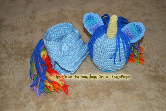 Crochet Unicorn Outfit : Crochet Baby Costume My Little Rainbow Unicorn Boy Girl newborn set ...