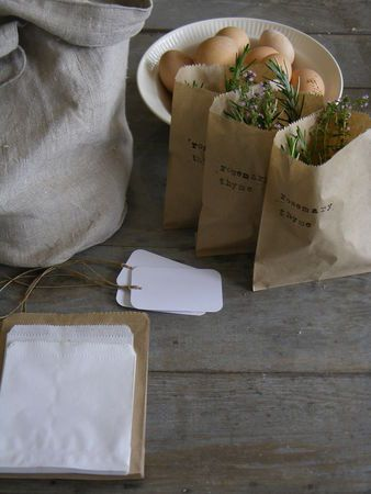 cute party favors idea: Party Favors, Brown Paper Bags, Gift Ideas, Fresh Herbs, Herbs Spices, Herb Gifts