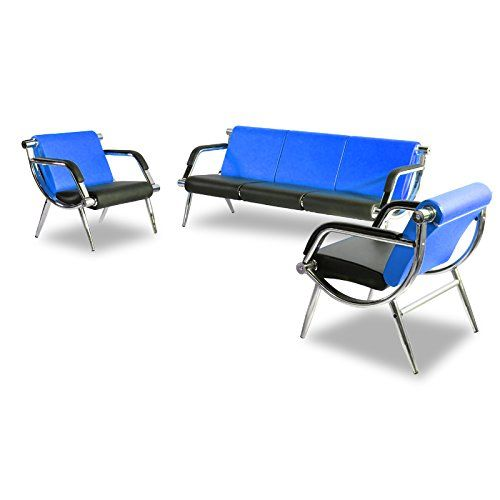 Borelax 3pcs Office Reception Chair Set Blue And Black Pu Leather Waiting Room Bench Visitor Guest Sofa Airport C Leather Sofa Set Reception Chair Leather Sofa
