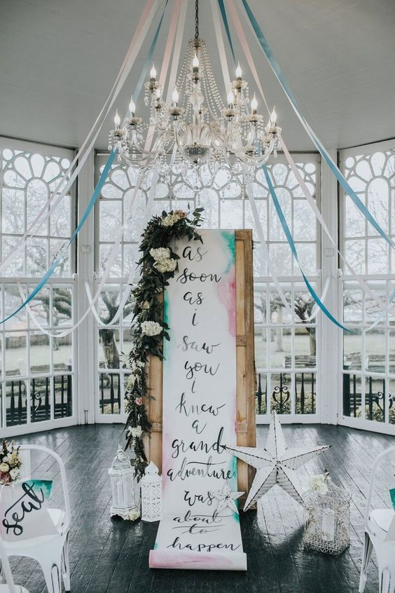 New Age Vintage Hire Theme | Eclectic & Pretty With Bohemian Vibes. Vintage Aisle Backdrop. Wedding Scroll Signage. | On A Day Like This, Wedding Styling