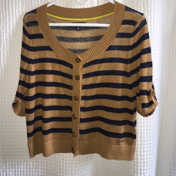 Tommy Hilfiger 3/4 sleeve cardigan This is a Tommy Hilfiger cardigan which is 75% linen & 25% Viscose.  This comes in a brown/navy striped look.  This was worn twice. Tommy Hilfiger Sweaters Cardigans