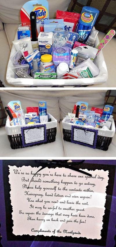 diy ladies & men's room baskets