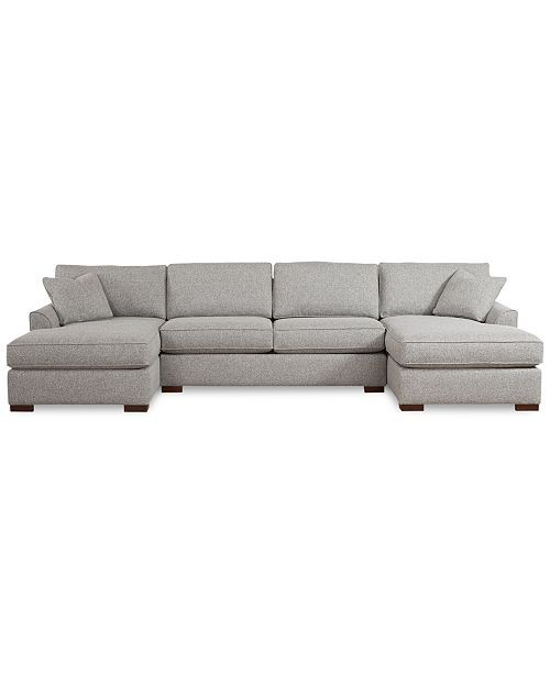 Furniture Closeout Carena 3 Pc Fabric Sectional Sofa With Double Chaise Created For Macy S Reviews Furniture Macy S Fabric Sectional Sofas Fabric Sectional Double Chaise