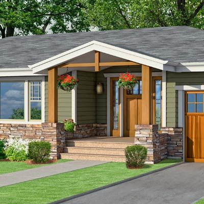 Photoshop redo craftsman makeover for a no frills ranch for Front porch ideas for ranch style homes