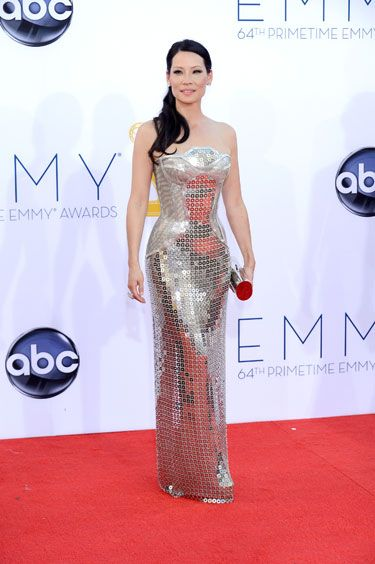 Emmys 2012: The Best of the Red Carpet - Lucy Liu wears a major metal gown by Versace.