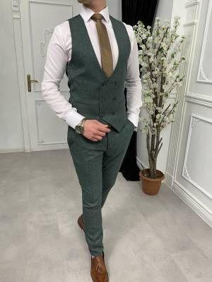 Terziademaltun Italyan Stil Slim Fit Ceket Yelek Pantolon Yesil Takim Elbise T3254 1 Takim Elbise Pantolon Fit