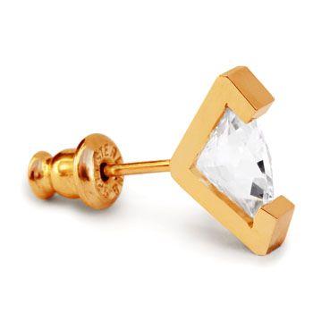 MEHEM silver pierced earring cubic zirconia  MH83-JP013cl-B #mehem #piercedearring  #silver #goldplated #cubiczirconia #em #normcore #emgrp