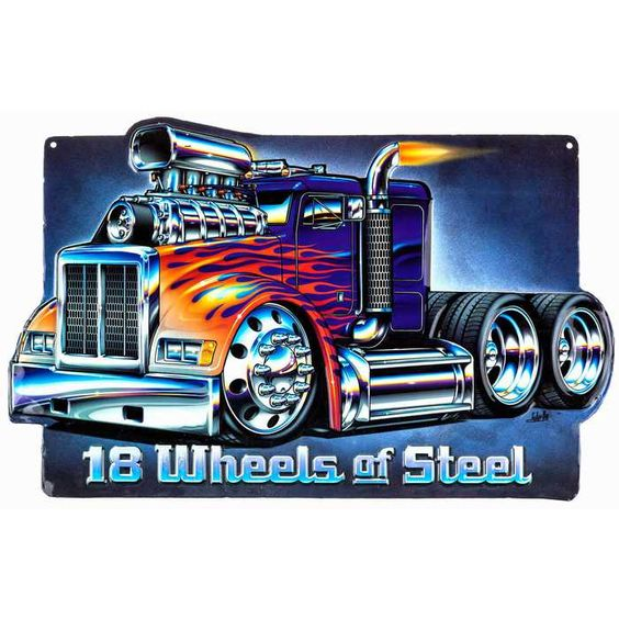 All muscle and brawn. Truck along your wall decor with 18 Wheels of Steel Embossed Tin Sign⎜Open Road Brands
