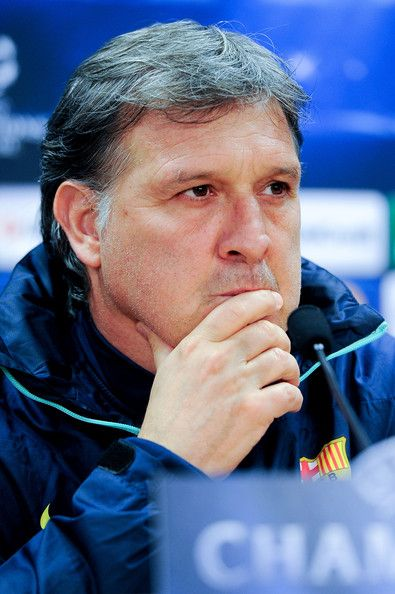 Head coach Gerardo 'Tata' Martino of FC Barcelona faces the media during a press conference ahead the UEFA Champions League Quarter Final first leg match against Atletico de Madrid at Sant Joan Despi Sport Complex on March 31, 2014 in Barcelona, Catalonia.