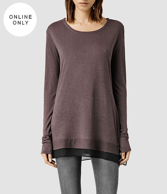 Womens Miro Long Sleeved Top (ASH/CHALK) - product_image_alt_text_1