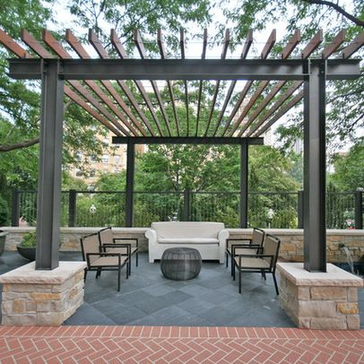 Steel beam and wood structure shelter me pinterest for Metal frame pergola designs